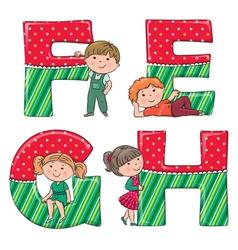 Alphabet kids EFGH vector image