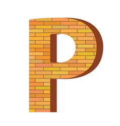 brick letter P vector image vector image