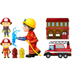 firefighters and fire station vector image vector image