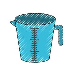 jar with handle and measure scale colored crayon vector image vector image