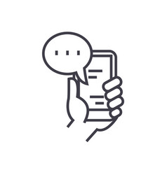 mobile chat linear icon sign symbol on vector image