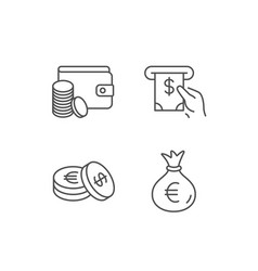 money bag cash and wallet line icons coins vector image