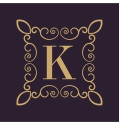Monogram letter K Calligraphic ornament Gold vector image