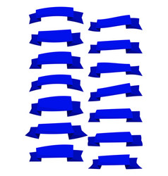 set of blue cartoon ribbons and banners vector image vector image