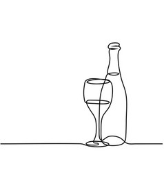 Wine bottle and glass contour vector