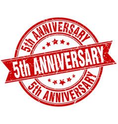 5th anniversary round grunge ribbon stamp vector image