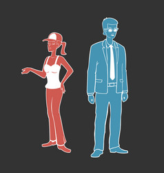 A guy and girl vector