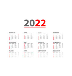 Annual desk monthly calendar template for 2022 vector