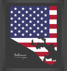 Baltimore maryland map with american national flag vector