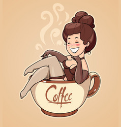 beautiful girl sit in coffee vector image