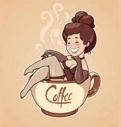 Beautiful girl sit in coffee vector