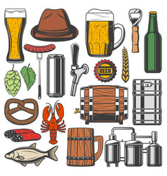 beer bottle alcohol drink glass and mug icons vector image