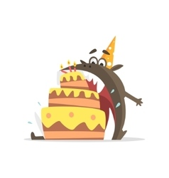 Black Monster Eating Party Cake In One Gulp vector