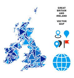 blue triangle great britain and ireland map vector image