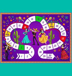 Board game with dia de los muertos characters vector