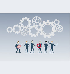 business people group under cog wheel work vector image
