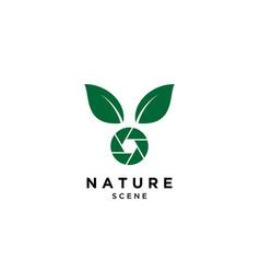 Camera and leaf logo design template vector