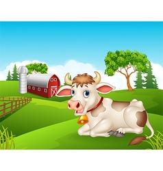 Cartoon cow sitting in the farm vector