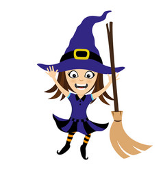 Cheerful witch with a broom vector