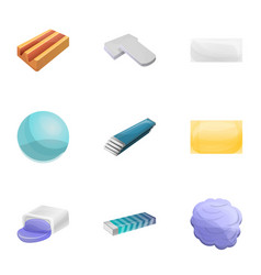 Chewing gum icon set cartoon style vector