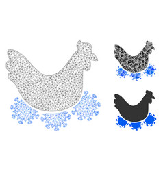 Chicken virus mesh wire frame model and vector