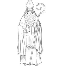 Christmas Character Sinterklaas lineart vector image