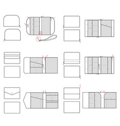 Clutch fashion flat technical drawing template vector