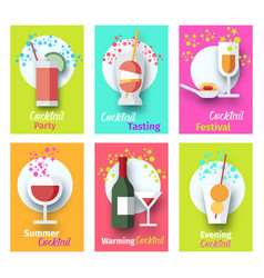 cocktail party poster set with glasses and bottle vector image