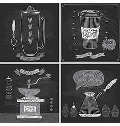 Coffee cards - Chalkboard style vector image