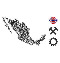 Collage mexico map of service tools vector