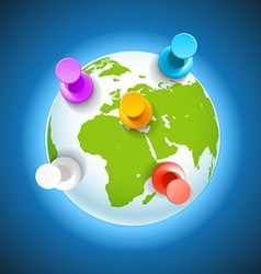 color pins on earth concept vector image