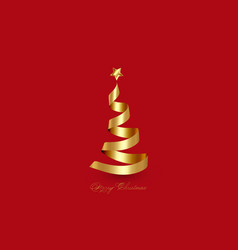 creative xmas tree made 3d gold ribbon isolated vector image