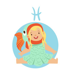 Cute little girl as pisces astrological sign vector