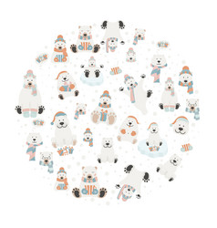 cute polar bear sticker set round design elements vector image