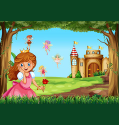 cute princess and fairies in garden vector image