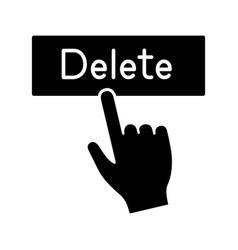 Delete button click glyph icon vector