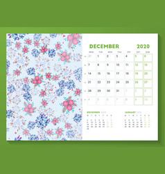 Desk calendar template for december 2020 week vector