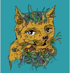 Doodle cat sketch ilustration on white vector image