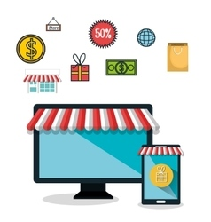 e-commerce technology isolated design vector image