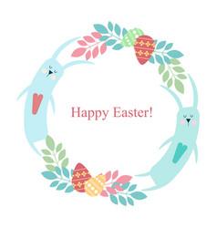 easter round frame - rabbit flowers plants eggs vector image