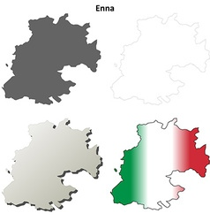 Enna blank detailed outline map set vector