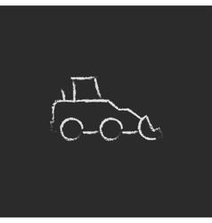 Excavator icon drawn in chalk vector