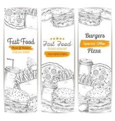 Fast food restaurant menu sketch banner set vector