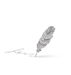 Feather pen icon calligraphy sign signature icon vector