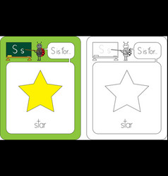 flashcard letter s vector image