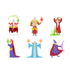 flat set of fantasy wizards from children vector image