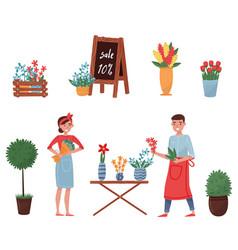 flat set of flower shop elements cute vector image