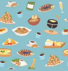 french cuisine seamless pattern national menu of vector image