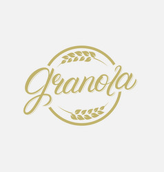 granola hand written lettering logo vector image