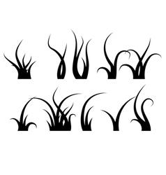 Grass Set Silhouette vector